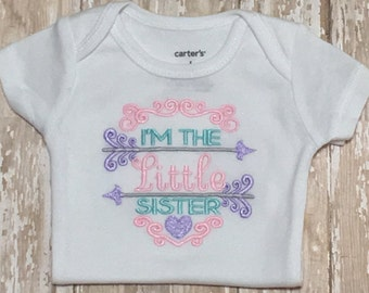 I'm The Little Sister Embroidery Applique Shirt