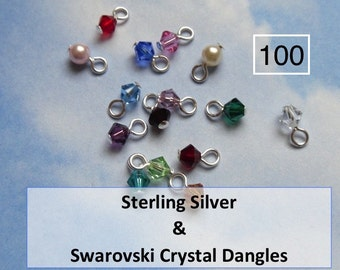 100 sterling silver wrapped  4mm Swarovski crystal bicone or round pearl dangles for charm bracelets, necklaces, earrings- simple loop