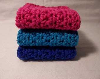 """Set of 3 Handmade Crochet Dish,Bath,Wash Cloths,Linens,Kitchen and Dining,Gifts- 7""""x7"""" 100% Cotton,Ready To Ship"""