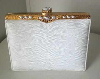 White clutch, Metal frame, embossed,Special occasion, evening bag