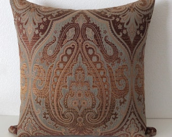 Ombre Brown Green Medallion Pillow Cover