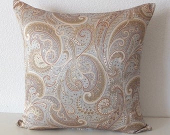 18x18 Satin Silky Blue Green Paisley Pillow Cover