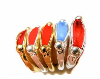Gold, Silver Plated Enameled Stackable Ring