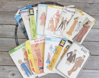 Vintage lot of Fabric Patterns from 60s 70s 80s