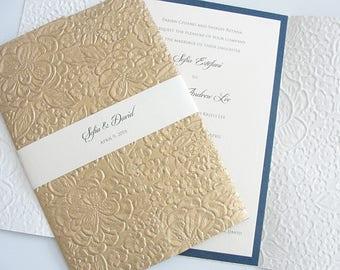 Embossed Wedding Invitation, Gold Floral Wedding Invitation, Luxury Invitations Elegant Invitations, SARAHIE - 2 GOLD