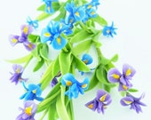 Purple and Blue Iris Miniature Polymer Clay Dollhouse Flowers Supplies 6 bunches
