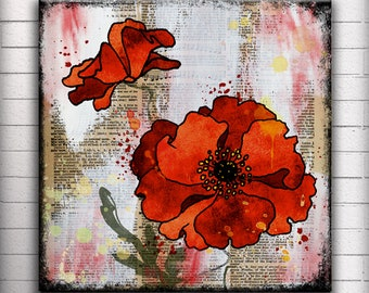 Red Poppy - One 5, 6, 7 or 8 inch Square Handmade Glass and Wood Wall Blox - Dictionary page book art - WilD WorDz - Poppy Talk 4 of 4