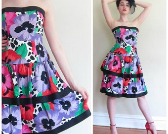 Vintage 1980s Strapless Party Dress Bright Floral Print / 80s AJ Bari Prom dress with Peplum / Small