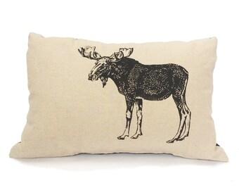 Moose Pillow, Rustic Living Room Pillow, Woodland Throw Pillow