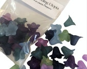24 Large Frosted Blue, Lavendar, Slate Blue, Purple, Teal, Green (2 Pairs) Lily Bell Trumpet Lucite Acrylic Plastic Flower Bead 18x12mm