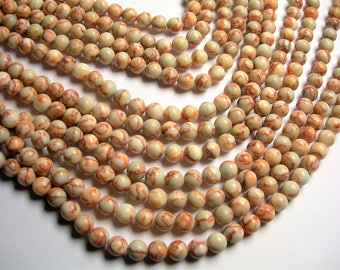 Red line Jasper - 10 mm round beads -1 full strand - 39 beads - A quality - Red line marble - RFG1263