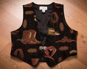 Longhorn Cowboy Sheriff Gear Vest, Niver Western Wear, Country Rockabilly, Vintage 80s-90s, Tapestry