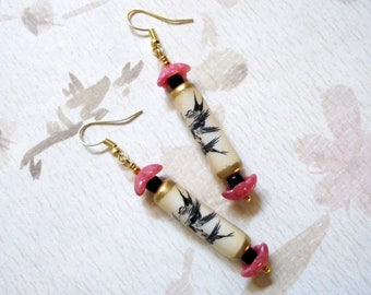 Ivory, Pink and Black Oriental Asian Earrings (3488)