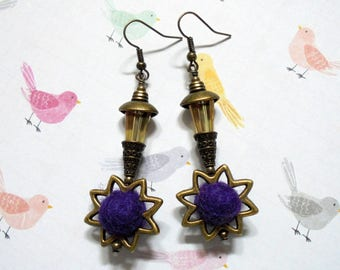 Purple and Golden Topaz Sunburst Earrings (3566)