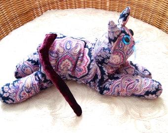 Collectible pink, purple, paisley velvet cat, handmade keepsake, posable plush cat, wild design