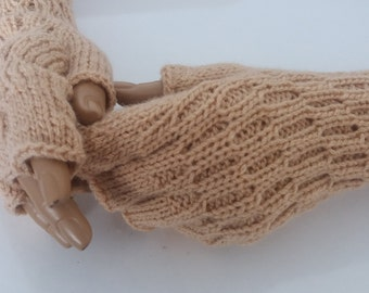 Beige Half Finger- Fingerless Gloves