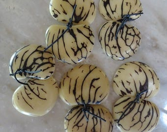 Natural White Tagua Nut Slices, Matched PAIR, Top Slice, Organic Beads, Natural Beads, Vegetable Ivory Beads, EcoBeads