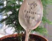 Vintage Spoon Garden Stake - Plant Marker - Garden Plant - Garden Saying - Spoon Plant Stake
