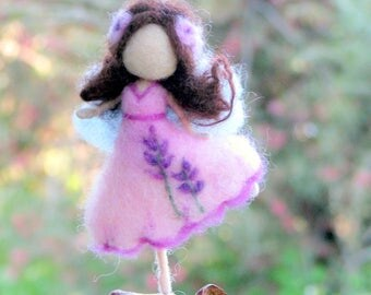 Flower fairy ornament Home decoration Needle felted ornament Waldorf inspired fairy Mobile Levander doll Little magic fairy on a seed
