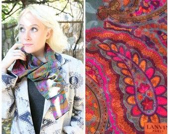 MaySale Vintage 80s Lanvin Silk Twill Scarf