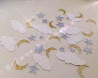 Clouds, Moon and Stars Glitter Confetti - Set of 120