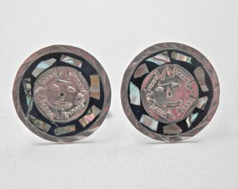 Vintage Cuff Links Mexican Silver Abalone Mayan 1950s Signed Mexican Vintage Alpaca Mens Accessories Vintage Man Antique Mens Jewelry