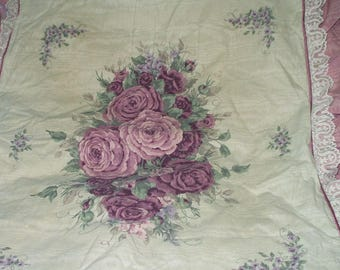 Vintage Pillow Sham Ruffled Lace and Roses Shabby Cottage Chic Rose Lilac Pennys Reclaimed Bedding Standard Pillow Cover 717