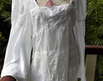 RESERVED // white on white embroidered blouse - bohemian - beautiful tunic - unconventional clothing -  XL, xxl  . .