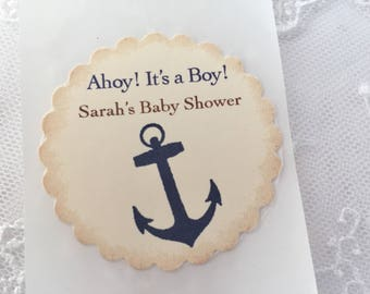 Anchor Stickers Ahoy! Nautical Labels Baby Shower Birthday Set of 10