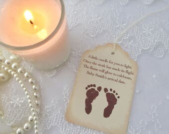 Candle Favor Tags Baby Shower Neutral Footprints Once the Stork has made its Flight Set of 10