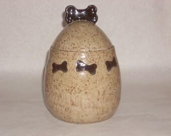 Dog Bone Lidded Jar; treat jar; cookie jar; ceramic jar; stoneware jar; dog lover