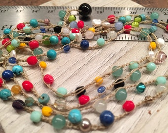 Whimsical Long necklace dainty beaded fine crocheted stunning statement doubles to two high fashion necklaces Boho Chic ready to ship now