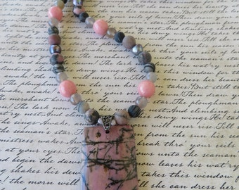 Rhodonite Agate And Zebra Stone Beaded Necklace With Rhodonite Pendant
