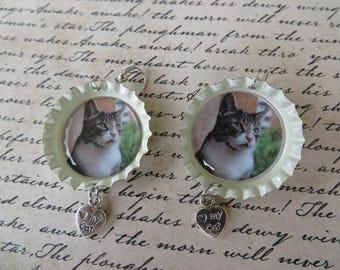 Outdoor Cat Bottle Cap Charm Earrings