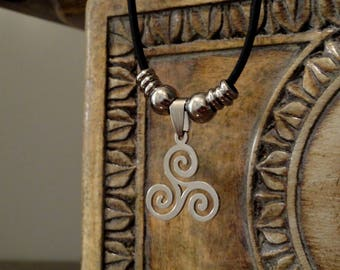 Stainless Steel Triple Spiral Necklace