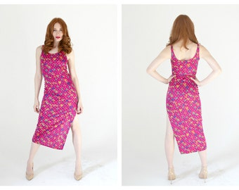 VERSACE Pink Stretch Dress- XS/S, Bodycon, Sexy 90s Maxi, Designer Vintage, Jeans Couture, Fuschia, Floral