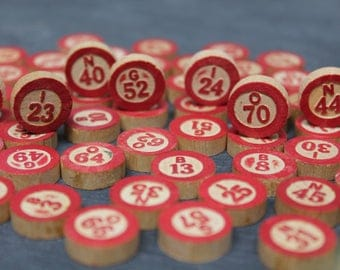 Lot of 68 Vintage Wooden Bingo Call Chips, Bingo Tokens, Bingo Letters and Numbers