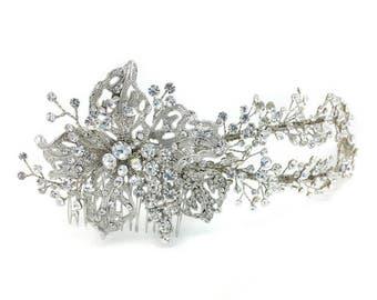 Swarovski flower headpiece - Rhodium