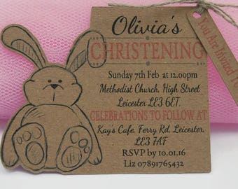 x10 Christening Baptism Invitations Invite Tags Baby Girl Baby Boy Personalised Bunny