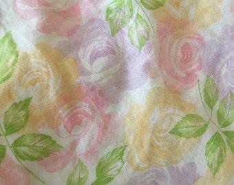 Floral Vintage Full Sheet Set / Vintage Flat and Fitted Double Sheet, Floral Sheet, Rose sheet, pink rose sheet, yellow rose sheet