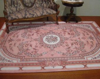 Dollhouse Aubusson Rug Peach Rust White 1:12 scale
