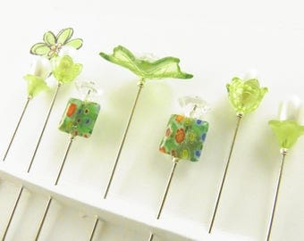 Fancy Sewing Pins Green Leaf and Millefiori