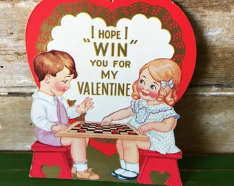 Vintage Valentine Card Girl an Boy Playing Checkers Sweet 1950's or Earlier Retro