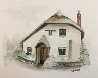 """Beehive Cottage - 5x7"""" (8x10"""" black mat included)"""