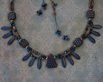 Rhapsody in Blue - Necklace, Earrings in Cobalt Blue, black, and bronze