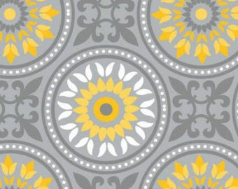 Yellow Matters, Tile Grey- by the YARD - Cotton Fabric