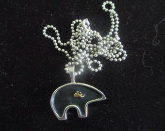Vintage Native American Sterling Silver Bear Totem Pendant Necklace