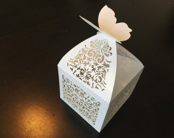 Set of 50/75/100 - Laser Cut Delicate Flower Butterfly Shimmery White Wedding Favor Box III - Great for Showers and Weddings!