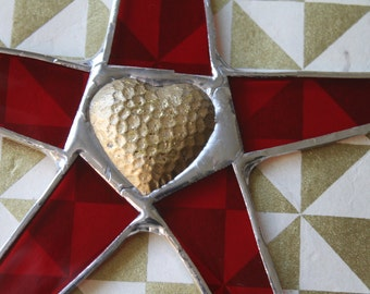 She has a Heart of Gold- 9.5 inch art glass star with bronze heart