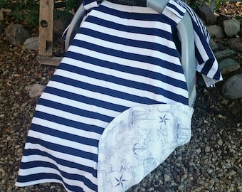 Nautical Car Seat Cover - Baby Car Seat Canopy - Navy White Car Seat Canopy - Car Seat Cover Boys - Baby Shower Gift - Girls Car Seat Cover